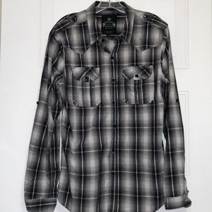 Bongo Jeans men's black and gray plaid shirt